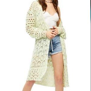 Free People Sweet Talker Crochet Cardi Duster